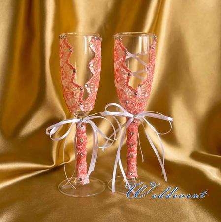 Свадебные бокалы - коралловые