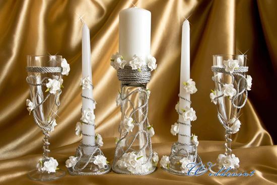 Бокалы и свечи «Белоснежная симфония»
