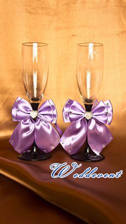 Украшение для бокалов «Бант фиолетовый»