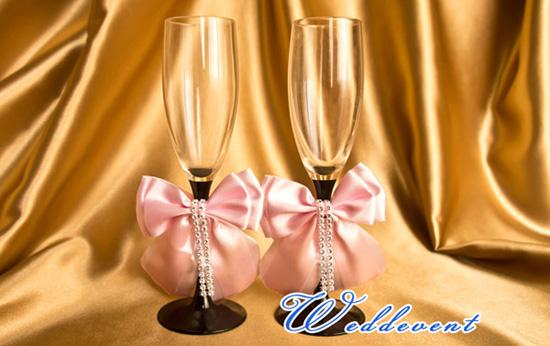Украшение для бокалов «Бант розовый»