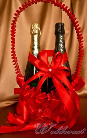 Корзинка для шампанского красная